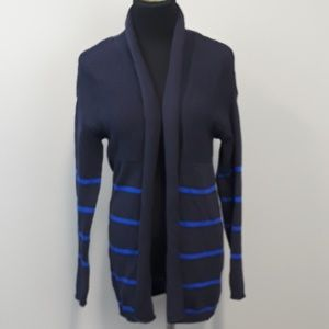 Liz Claiborne Navy Striped Open Front Cardigan